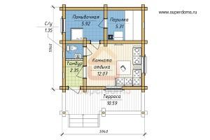 Как построить баню 6 на 6 с верандой (5)