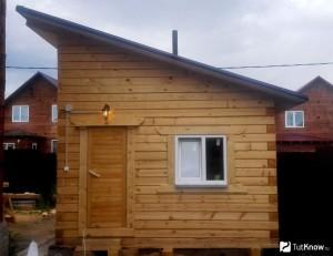 сделать односкатную крышу для бани
