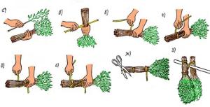 резать веники для бани из разного дерева