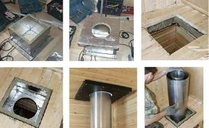 Как установить потолочно-проходной узел для бани